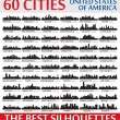 Постер, плакат: Incredible city skyline silhouettes set United States of Ameri