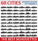 Incredible city skyline silhouettes set. United States of Ameri — Vecteur