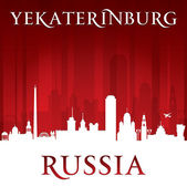 Yekaterinburg Russia city skyline silhouette red background — Stock Vector