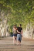 Couple on a romantic walk — Stock Photo