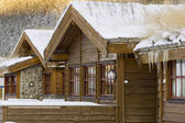 Norvegian wooden house in winter — Foto Stock
