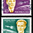 Gagarin and Titov stamp — Stock Photo