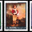 Paintings on Bahrain stamps — Stock Photo