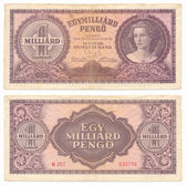 Hungarian banknote at one billion pengo, 1946 year — Stock Photo