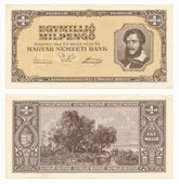 Hungarian banknote at one million pengo, 1946 year — Stock Photo