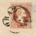 Portrait of Franz Joseph I. on postcard - circa 1881 — Stock Photo