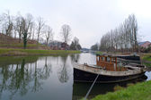 Boat and canal at Ronquieres, Belgium — Stock Photo