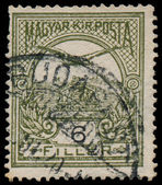 HUNGARY - CIRCA 1900: a stamp printed in Hungary shows falcon, c — Stock Photo