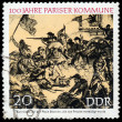 GERMANY- CIRC1971: stamp printed by Germany, shows Barricade a — Stock Photo #39090489