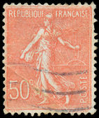 FRANCE - CIRCA 1926: A stamp printed in France, depicts a sower, — 图库照片
