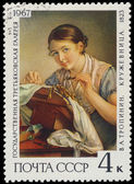 RUSSIA - CIRCA 1967: stamp printed by Russia, shows Lacemaker, b — Stock Photo