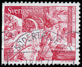 SWEDEN - CIRCA 1971: a stamp printed by SWEDEN shows Santa Claus — Stock Photo