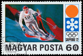 HUNGARY - CIRCA 1972: A stamp printed in Hungary showing ski sla — Stock Photo