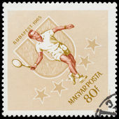 HUNGARY - CIRCA 1965: A stamp printed by Hungary, shows tennis p — Stock Photo