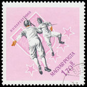 HUNGARY - CIRCA 1965: A stamp printed by Hungary, shows fencing, — Stock Photo