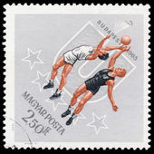 HUNGARY - CIRCA 1965: A stamp printed by Hungary, shows basketba — Stock Photo
