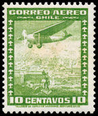 CHILE - CIRCA 1934: a stamp printed in the Chile shows Airplane  — Zdjęcie stockowe