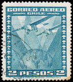 CHILE - CIRCA 1934: a stamp printed in the Chile shows Two Airpl — Zdjęcie stockowe