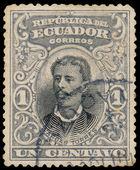 ECUADOR, CIRCA 1899 - Post stamp printed in Ecuador shows Luis V — Stock Photo