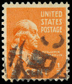 USA- CIRCA 1938: A stamp printed in USA shows portrait of Benjam — Stock Photo
