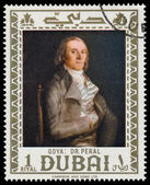 DUBAI - CIRCA 1967: a stamp printed in the Dubai shows Dr. Pearl — Zdjęcie stockowe