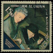 UMM AL QIWAIN - CIRCA 1966: A stamp printed in UAQ devoted Winst — Stock Photo