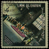 UMM AL QIWAIN - CIRCA 1966: A stamp printed in UAQ devoted Winst — Стоковое фото