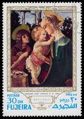 Fujeira - około 1970: znaczek wydrukowany w fujeira pokazuje madonna w — Zdjęcie stockowe
