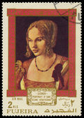 FUJEIRA - CIRCA 1971: A stamp printed in Fujeira shows a paintin — Stok fotoğraf