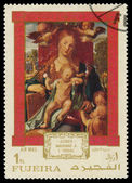 FUJEIRA - CIRCA 1971: A stamp printed in Fujeira shows a paintin — Stock Photo