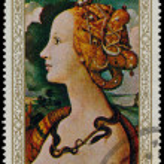 Постер, плакат: YEMEN CIRCA 1968: stamp printed by Yemen shows Simoneta Vespu