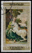 YEMEN - CIRCA 1968: stamp printed by Yemen, shows Young Girl wit — Stock Photo