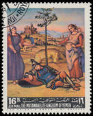 YEMEN - CIRCA 1967: stamp printed by Yemen, shows The Knight's D — Stock Photo