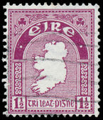 Stamp printed in Ireland shows a map of the country — Стоковое фото