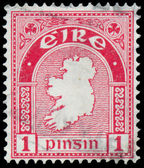 Stamp printed in Ireland shows a map of the country — Stock Photo