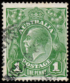 Stamp printed in Australia with the portrait of English King Geo — Foto de Stock