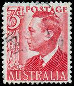 Stamp printed in Australia shows King George VI — Stockfoto