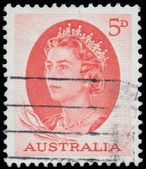 Stamp printed in Australia shows a portrait of Queen Elizabeth I — Photo