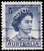 Stamp printed in Australia shows Queen Elizabeth II — Stock Photo