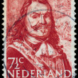 Stamp printed in Netherlands shows Admiral Michiel Adrianszoon D — Stock Photo #44485629