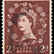 Stamp printed in Great Britain shows Queen Elisabeth — Stock Photo #44486117