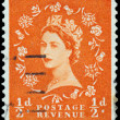 Stamp printed in Great Britain shows Queen Elisabeth — Stock Photo #44486215