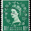 Stamp printed in Great Britain shows Queen Elisabeth — Stock Photo #44486285