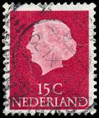 Stamp printed in Netherlands shows portrait of Queen Juliana — Stockfoto