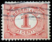 Netherlands Stamp Numeral 1 Cent — Stock fotografie