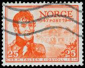 Stamp printed in the Norway, shows Christian Magnus Falsen — Stock Photo