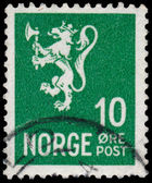 Stamp printed in Norway, shows Norway Coat of Arms — Stock Photo