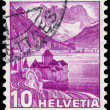 Stamp printed in SWITZERLAND shows image of The Chateau de Chill — Stock Photo