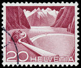 Stamp printed in Switzerland shows Grimsel Reservoir — Stock Photo