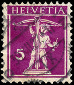 Stamp printed by Switzerland, shows William Tell's Son — Zdjęcie stockowe